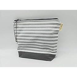 Bolsa a rayas gris y blanco, bolso, bolsa de cosméticos, base impermeable, monederos, bolsa de maquillaje, Bolsa neceser para maquillaje, embrague, bolsa de cremallera, marca portuguesa
