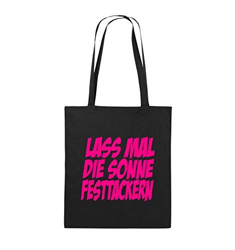 Comedy Bags - LASS MAL DIE SONNE FESTTACKERN - Jutebeutel - lange Henkel - 38x42cm - Farbe: Schwarz / Silber Schwarz / Pink