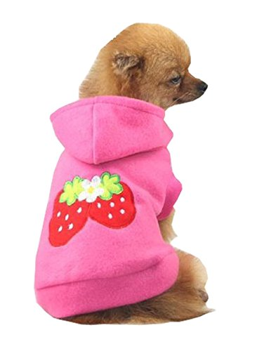 Small Strawberry Dog Cat Puppy Fleece Hoody Clothes Pet Apparel Dress Up – Pet Supplies by Accessorybee