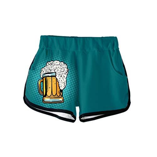 Yuan  Ladies'3D Beer Festival Printing Easy Casual Shorts Pants Damen 3D Oktoberfest Print Lose Freizeitshorts (Fußball-volant)