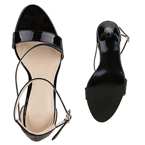 Party Damen Sandaletten | Glitzer High Heels | Plateau Sandaletten Strass Nieten | Damenschuhe Snake Lack | Stilettos Schnallen Schuhe Schwarz Lack