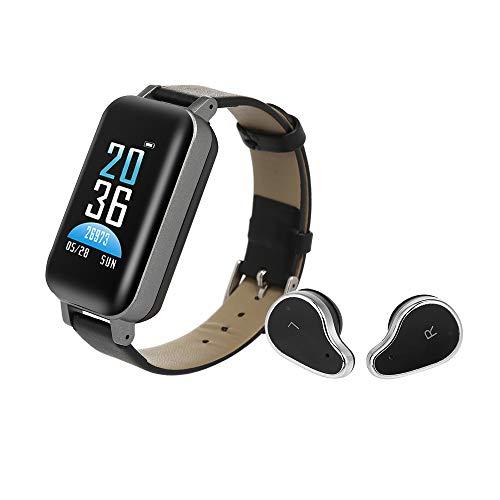 Docooler TWS Écouteurs Montre Intelligente 2IN1 Casque d'écoute sans Fil BT Tracker Montre Étape Compteur de Calories Fréquence Cardiaque Moniteur de Tension artérielle Bracelet étanche Étanche
