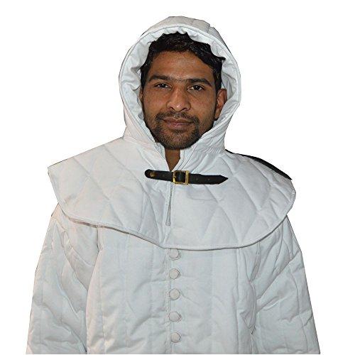 NASIR ALI Best Qualität Dick Weiß Farbe Gambeson gepolstert FULL Ärmel Baumwolle Armor W/CAP