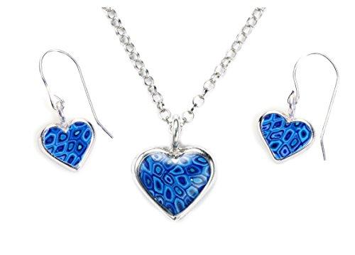 Parrure petits Coeurs en argent et Fimo - Bijoux fait main - Cadeau pour jeune fille Bleu