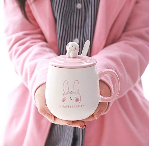 n Kaninchen Hitzebeständige Keramik Tassen Niedlichen Kinder Becher Mit Deckel Löffel Milch Kaffee Kaffee Tasse Tee Becher Für Büro Geschenke ()