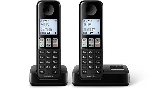 Philips D2352B/38 schnurloses Telefon mit Anrufbeantworter (4,6 cm (1,8 Zoll) Display, HQ Sound, Privatsphären-Modi, 2 Telefone) schwarz Philips Telefon