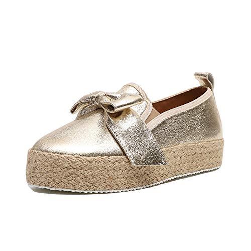 Slippers Espadrilles Damen Low Top Frauen Plateau 4.8cm Leicht Bequem Segeltuch Elegant Flache Schuhe Streifen Gold 39 -