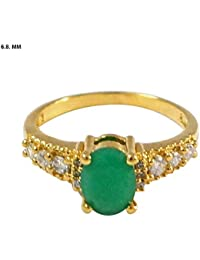 Florishkart Simulated Emearld & White Cz Stone Gold Plated Ring