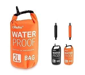 Ohuhu® 2L Borsa Impermeabile Esterno per Canottaggio, Kayak, Pesca, Raft, Nuoto, Borsetta Organizzatore Portaoggetti, Colore Arancione