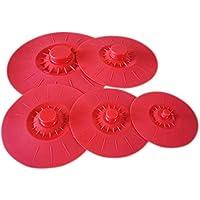 iNeibo Tapas de silicona Juego de 5 tapas de succión hechas de silicona premium con diferentes tamaños. rojo