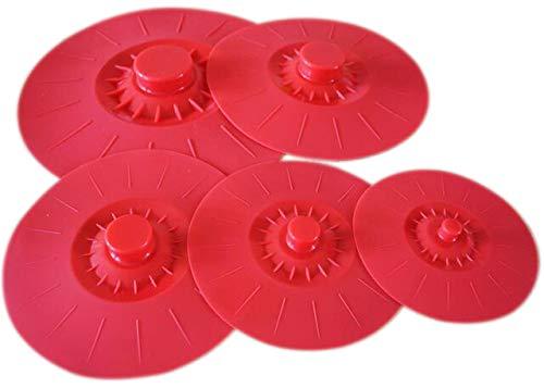 Ineibo coperchi silicone - coperchi sottovuoto   set da 5 coperchio in silicone estensibile di varie dimensioni