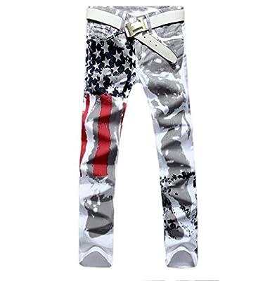 SZYYSD Men's Fashion Slim-fit Jeans Pants Trousers USA American Flag