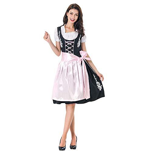 Dicomi Oktoberfest Kostüm für Damen Bayerisches Biermädchen Drindl Tavern Maid Dress C Rosa (Cute Sailor Kostüm Frauen)