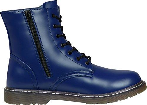 Bottes militaires 7trous pour adulte – Unisexe Bleu - bleu marine