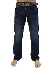 Homme Design Crosshatch Jeans Jambe Droite & Ceinture Régulier Au Roi Tailles - Bleu Foncé Délavé, 42 - longueur 86cm