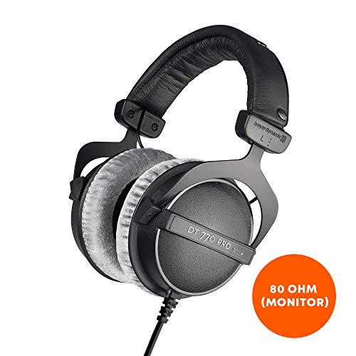 beyerdynamic DT 770 M 80 Ohm Over-Ear-Monitor Kopfhörer in schwarz, Geschlossene Bauweise, kabelgebunden, Lautstärkenregler für Schlagzeuger und Toningenieure FOH (Beyerdynamic Dt 990 Pro)