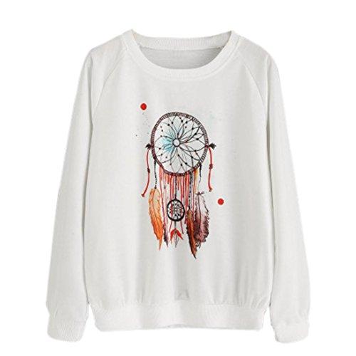 Vovotrade® Mujer Dream Catcher Atrapasueños Impresión Pull-Over Blusa Camiseta Manga Larga Casual Sudadera Cuello Redondo (M, White)
