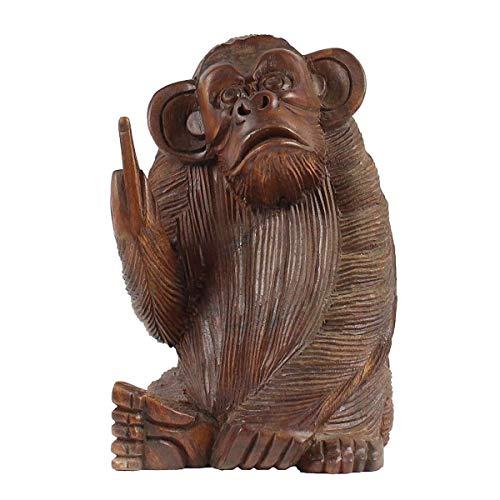 Affe aus Holz Figur Skulptur Affenfigur Stinkefinger Sitzend Deko Tier Monkey 20 cm