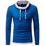 IMJONO Herren Sweatshirt Slim Fit Kapuzenpullover Strickjacke Cardigan Lange Trenchcoat Jacke (EU-44/CN-M,Blau)