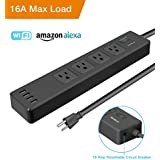 2018 Upgrade WiFi Smart Power Strip Alexa, Tonbux 16A Surge Protector With 4 USB Charging Ports And 4 Smart AC Plugs For Multi Outlets Power Socket Extension Cord, Works With Alexa Google Home-Black