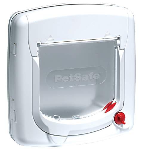 PetSafe Staywell Luxus Katzenklappe weiß, 4 Verschlussoptionen, Teleskoprahmen, Tunnel, robust, 25,2 cm  x 24,1 cm