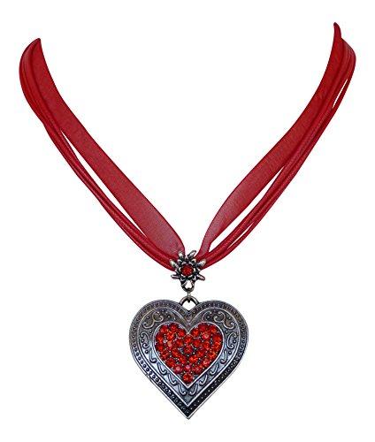 Trachtenschmuck Dirndl Kristall Herz Collier - Edelweiss Aufhängung - Ornamentaler Anhänger (Rot / Light Siam)