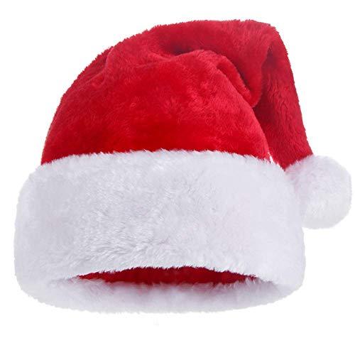 (KFZR Weihnachtsmütze Nikolausmütze Verdickt Warme Weiche Erwachsene Unisex Rot Santa Mütze 12,2 * 19,6 (W * H))