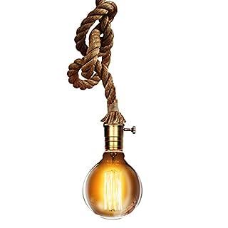 Trellonics Hanging Hemp Rope Ceiling Pendant Light 1.2m/1.8m/2.5m + FREE LONG LIFE EDISON BULB