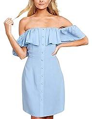 Las Mujeres de la Manera más el tamaño sólido Fuera del Hombro Vestido de Slash Atractivo del Volante del Cuello Flojo