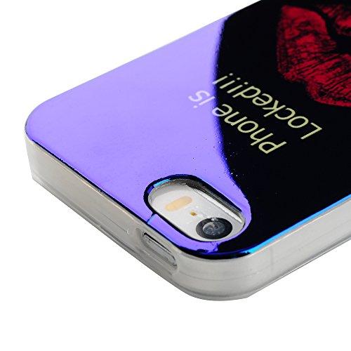 Mavis's Diary Coque iPhone 5/iPhone 5S/iPhone SE TPU Souple Fleurs Housse de Protection Étui Téléphone Portable Phone Case Cover+Chiffon Motif 2