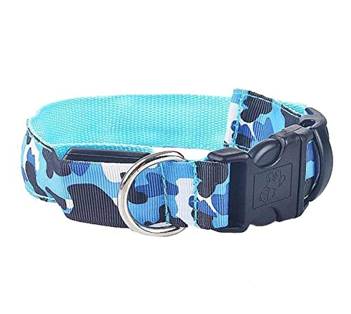 dfhdfsg Navy Camouflage Night Flash Pet Dog Led Collar Adjustable Puppy Collar Dog Collar Necklace Electric Pet Supplies
