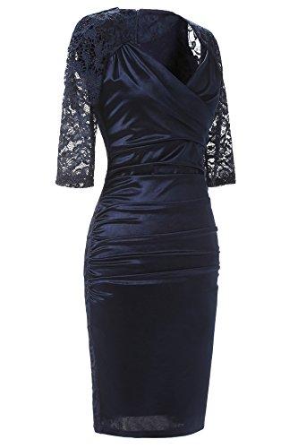 Gigileer Elegant Spitze Damen Kleider V-Neck Wickelkleid Cocktailkleid Party festlich hochzeit Navy M -