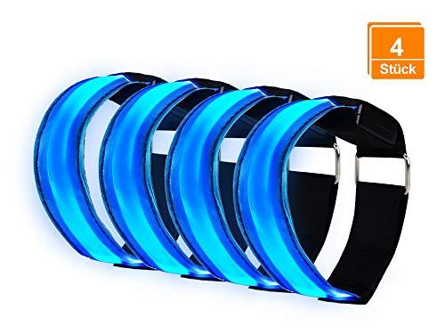 LED Armband | Leuchtband [4 Stück, Blau Licht] für Outdoor Jogging, Radfahren, Wandern, Motorrad-Reiten oder Laufen