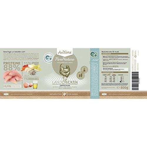 AniForte® PureNature Nassfutter 800g Land Chicken Hundefutter- Naturprodukt für Hunde (Zartes Huhn, 12x800g) - 3