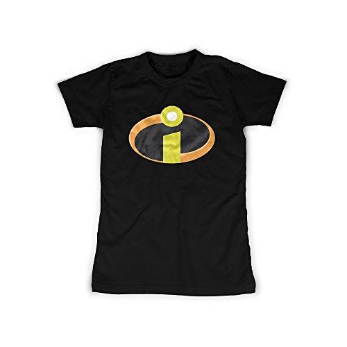 t mit Aufdruck in Schwarz Gr. L Superhelden Familie Design Girl Top Mädchen Shirt Damen Basic 100% Baumwolle Kurzarm (Roboter Kostüm Für Mädchen)