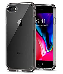 Cover iPhone 7, Cover iPhone 8, Spigen® [Neo Hybrid Crystal] [2nd Generation] iPhone 7 cover with Flexible Inner Casing and Reinforced Hard Bumper Frame for iPhone 7 (2016) / iPhone 8 (2017) - Gunmetal - 054CS22363