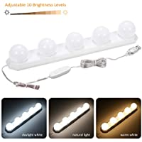 LED Vanity Mirror Lights Dimmable, Tomshine Hollywood Light for Make up Bath Mirror Lamps 3 Color 10 Levels Brightness Bathroom Lights DIY with 5 Bulbs 7.55ft Long USB Cable