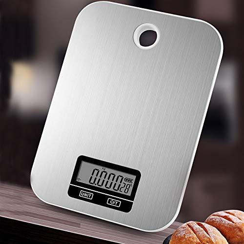 Basoncbs Küchenwaage digital, Edelstahlplattform, Hakenloch, Tarafunktion, 6 Wägeeinheiten, automatisches Schließen, Silber. (11 Pfund/5 kg, 0,05 oz / 1 g) (Silber Pfund)