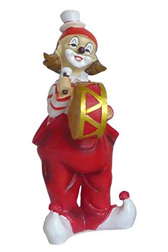 Niedliche Dekofigur ~ Musik Clown ~ Karneval Köln Harlekin Deko Figur Pauke Bass (Modell: mit großer Trommel)