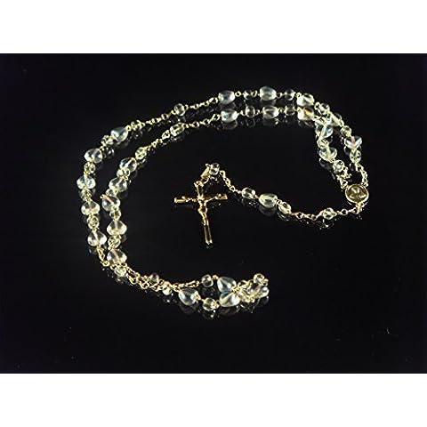 Vidrio claro rosario con en forma de corazón cuentas encendido cadena de oro centro y crucifijo