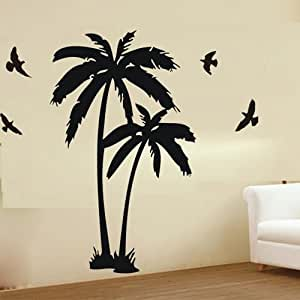 """ColorfulHall 23.6"""" X 47.2"""" Coconut Palm Coconut Tree Flying Birds Wall Decal Nursery Wall Stickers Wall Decor Removable Vinyl Mural Art"""