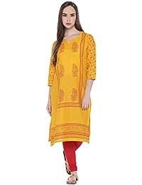 1eec0c32d Rangmanch by Pantaloons Women s Straight Fit Kurta (110030681 Yellow Large)