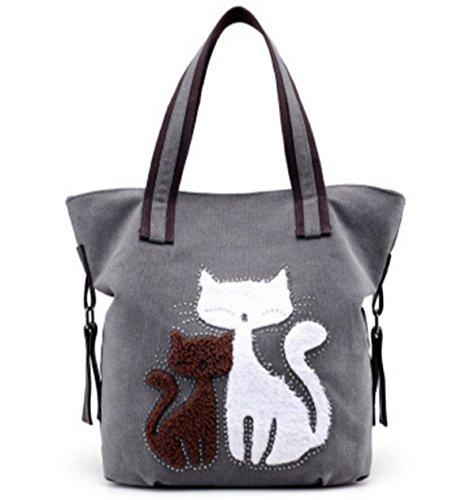 CLOCOLOR Mujer Bolsa de Mano Lona con Estampado de Gatos Bolso de Tela Casual Estilo Elegante Gris