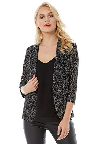 Roman Originals Damen Spitzen-Jacke - Abend-Mantel, zum Ausgehen, figurbetont, klassisch, mit 3/4-Ärmeln - Schwarz - Größe 38