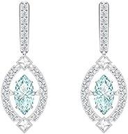 SWAROVSKI Women's Sparkling Dance Pierced Earrings, Green, Rhodium pl