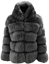 Coorun Mujer Casual Espesar Invierno cálido Faux Conejo Abrigo de Piel Outwear Abrigos
