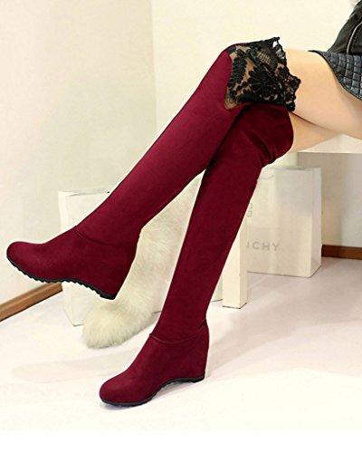 Minetom Femmes Hiver Cuir Nubuck Chaud Bottes De Neige Bottes De Dentelle Genou Bottes Chaussures Compensées Party Vin rouge