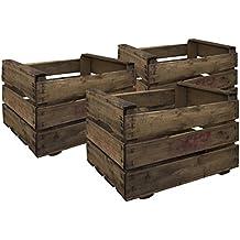 Decowood Set de Cajas de Fruta, Madera, Marrón, 49x35x31 cm 3 Unidades