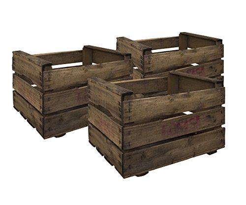 Decowood Set de Cajas de Fruta, Madera, Marrón, 49x35x31 cm, 3 Unidades