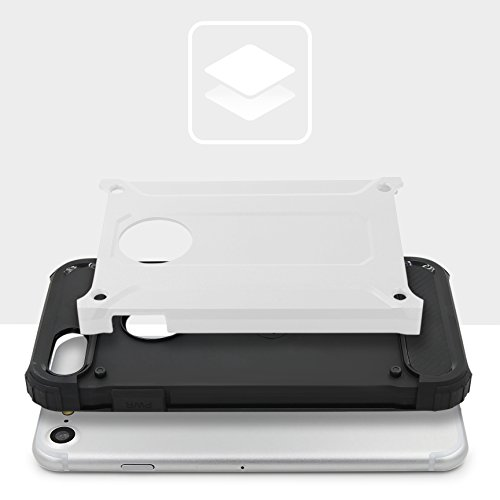 Urcover® Apple iPhone 7 Hülle Steel Series Hybrid | Kunststoff in Rot | Zuberhör Tasche Case Handy-Cover Schutz-Hülle Schale Silber